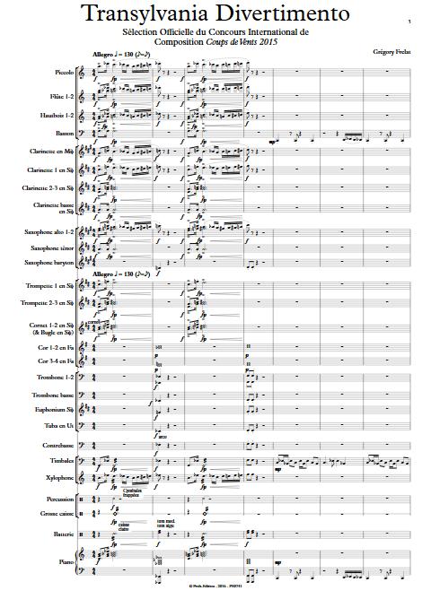 Transylvania Divertimento - Orchestre d'Harmonie - FRELAT G. - app.scorescoreTitle