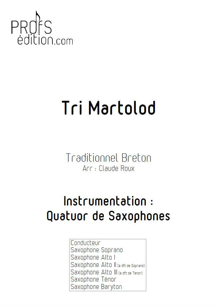 Tri Martelod - Quatuor de Saxophones - TRADITIONNEL BRETON - page de garde