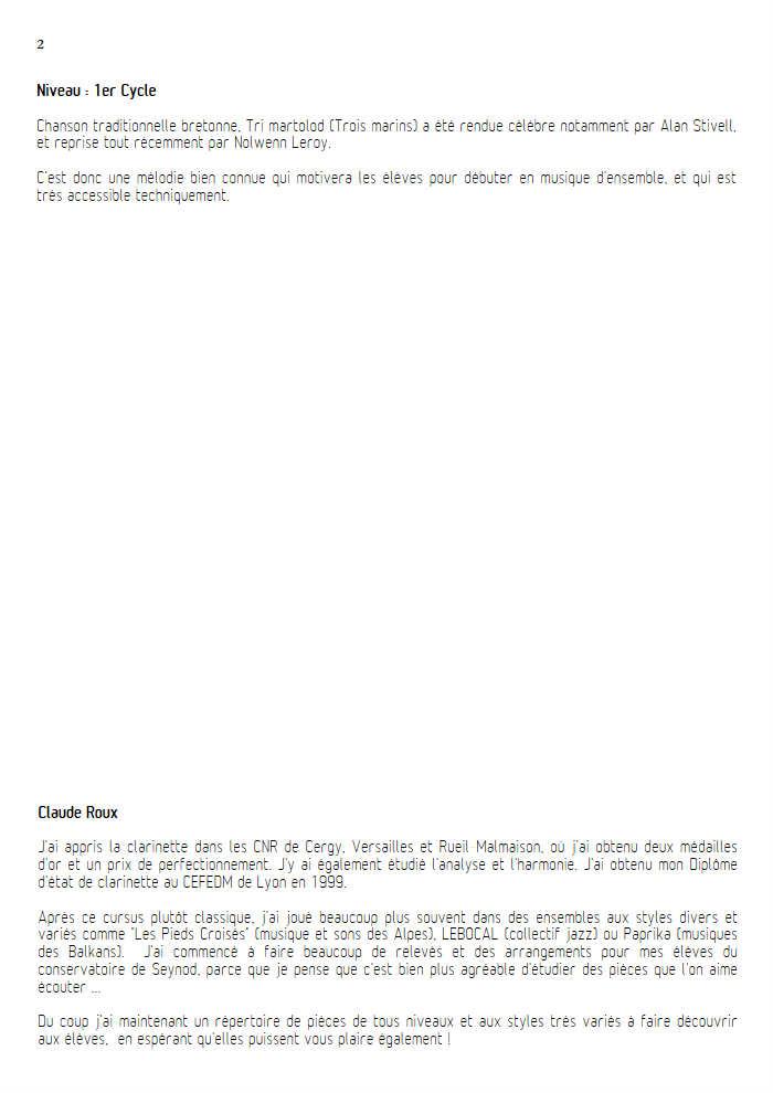 Tri Martelod - Quatuor de Saxophones - TRADITIONNEL BRETON - Fiche Pédagogique
