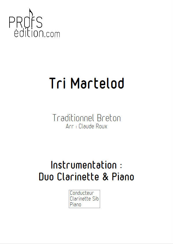 Tri Martelod - Duo Clarinette et Piano - TRADITIONNEL BRETON - page de garde