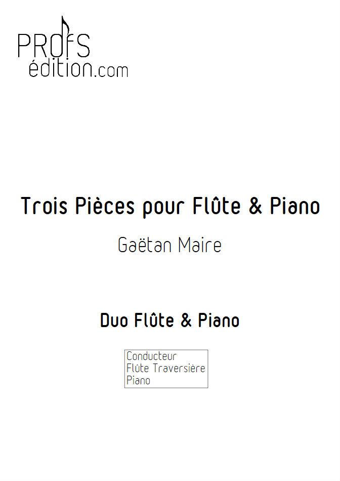 Trois Pièces - Duo Flûte & Piano - MAIRE G. - page de garde