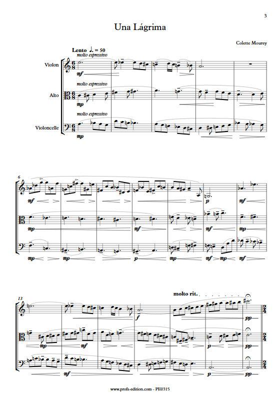 Una Lágrima - Trio à Cordes - MOUREY C. - app.scorescoreTitle