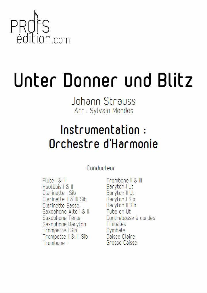 Unter Donner Und Blitz - Orchestre Harmonie - STRAUSS J. - page de garde