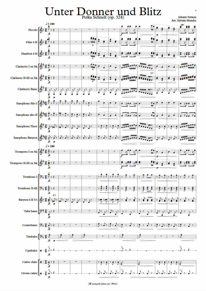 Unter Donner Und Blitz - Orchestre Harmonie - STRAUSS J. - Partition
