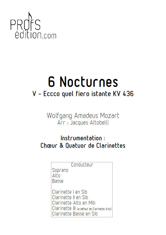 Ecco quel fiero istante KV 436 - Chœur & Quatuor Clarinettes - MOZART W. A. - page de garde
