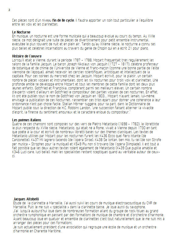Ecco quel fiero istante KV 436 - Chœur & Quatuor Clarinettes - MOZART W. A. - Fiche Pédagogique
