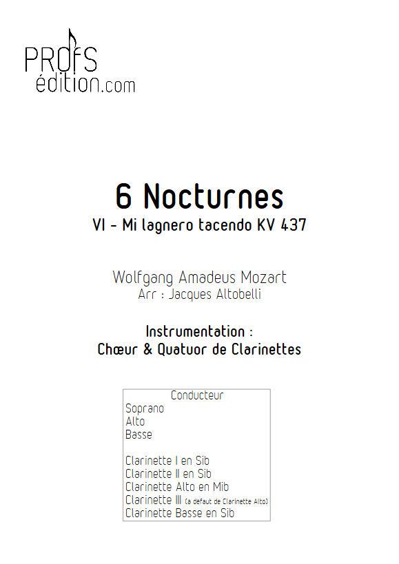 Mi lagnero tacendo KV 437 - Chœur & Quatuor Clarinettes - MOZART W. A. - page de garde