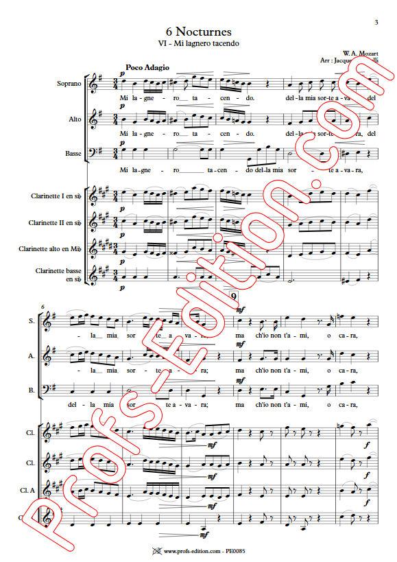 Mi lagnero tacendo KV 437 - Chœur & Quatuor Clarinettes - MOZART W. A. - app.scorescoreTitle