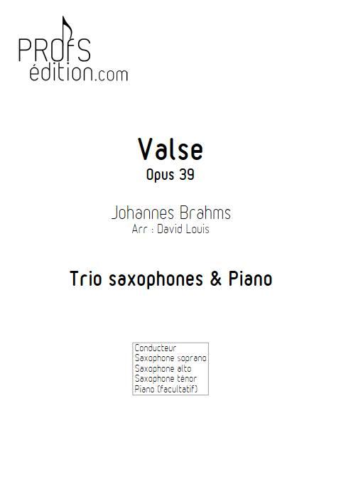 Valse n°15 Opus 39 - Trio Saxophones - BRAHMS J. - page de garde