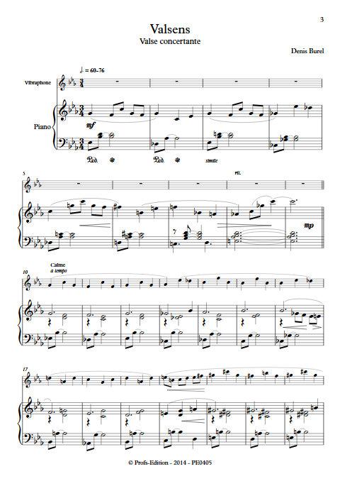 Valsens - Duo Vibraphone et Piano - BUREL D. - Partition