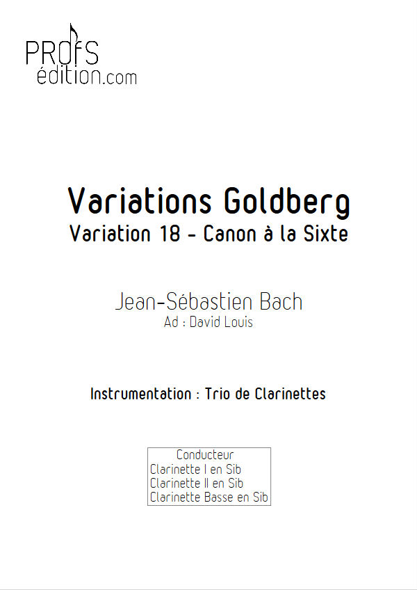Variations Goldberg - Trio Clarinettes - BACH J. S. - page de garde