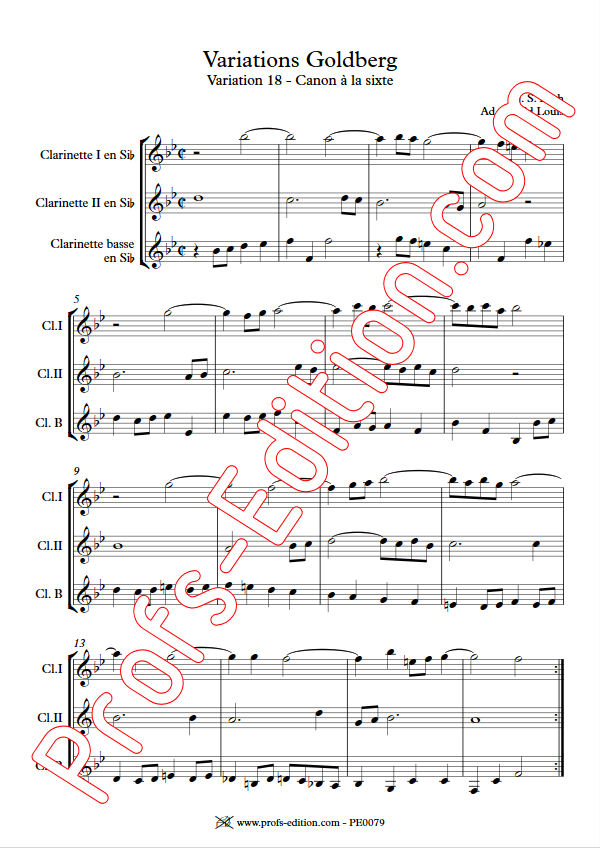 Variations Goldberg - Trio Clarinettes - BACH J. S. - app.scorescoreTitle
