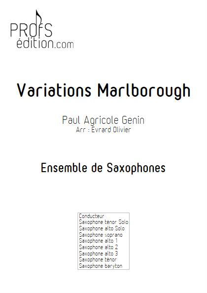 Variations Marlborough - Ensemble de Saxophones - GENIN P. A. - page de garde