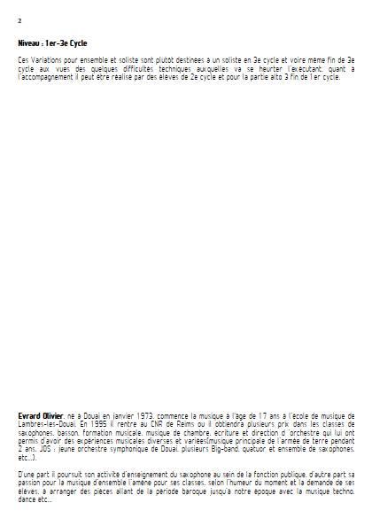 Variations Marlborough - Ensemble de Saxophones - GENIN P. A. - Fiche Pédagogique
