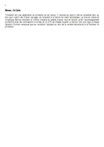 Villanelle - Chant & Orchestre Symphonique - BERLIOZ H. - Fiche Pédagogique