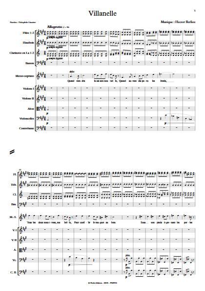 Villanelle - Chant & Orchestre Symphonique - BERLIOZ H. - Partition