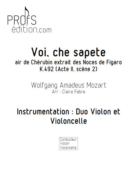 Voi che sapete - Duo Violon Violoncelle - BIZET G. - page de garde