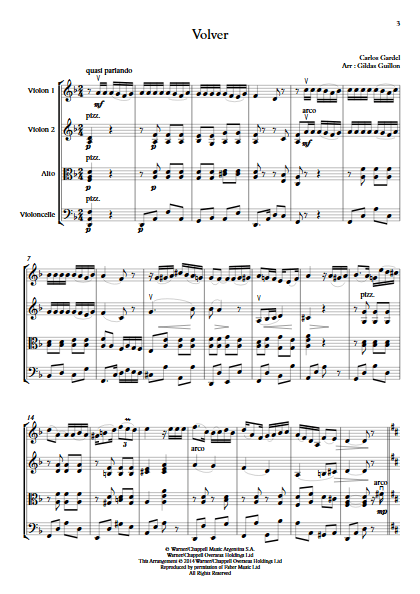 Volver - Quatuor à Cordes - GARDEL C. - Partition
