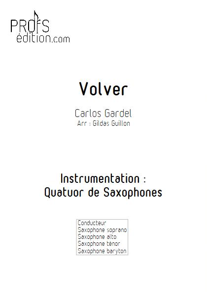 Volver - Quatuor de Saxophones - GARDEL C. - page de garde