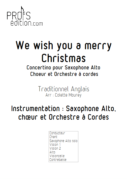We Wish You a Merry Christmas – Saxophone Chant Orchestre à Cordes - MOUREY C. - page de garde