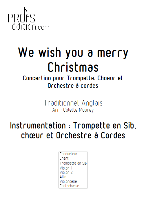 We Wish You a Merry Christmas – Trompette Chant Orchestre à Cordes - MOUREY C. - page de garde