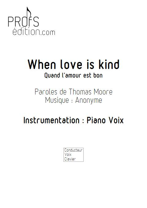 When Love Is Kind - Piano Voix - ANONYME - page de garde