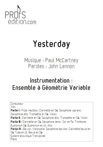 Yesterday - Ensemble Variable - MCCARTNEY P. - page de garde