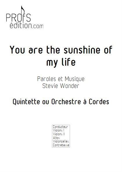 You are the sunshine of my life - Quintette ou Orchestre à Cordes - WONDER S. - page de garde