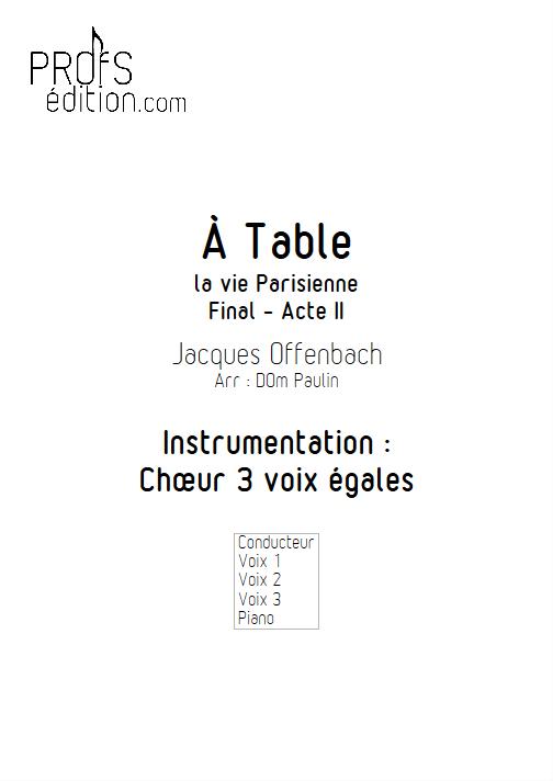 A Table - Chœur 3 voix égales - OFFENBACH J. - page de garde