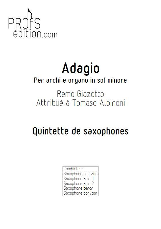 Adagio Albinoni - Quintette de Saxophones - GIAZOTTO R. - page de garde