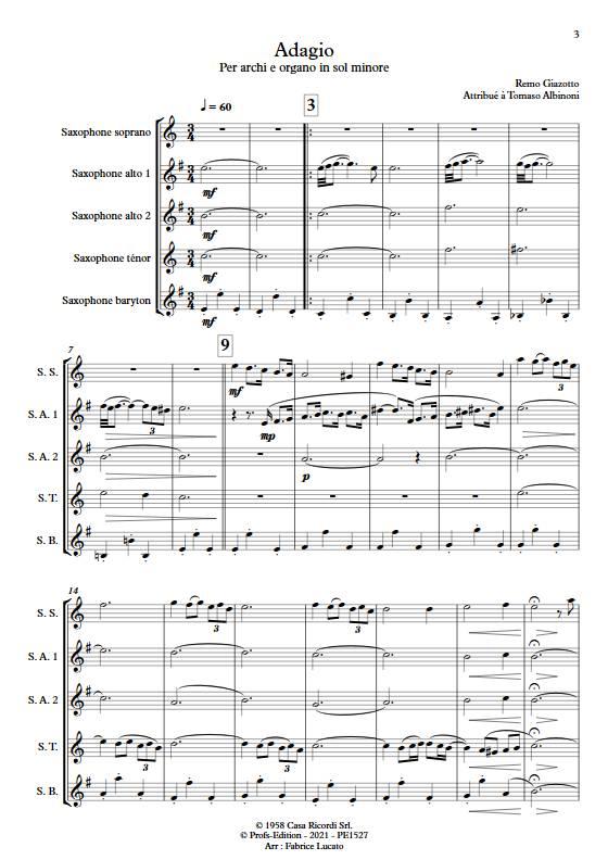 Adagio Albinoni - Quintette de Saxophones - GIAZOTTO R. - app.scorescoreTitle