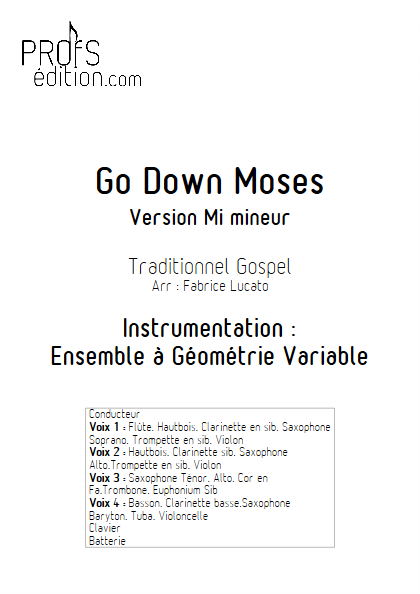 Go Down Moses - Ensemble à Géométrie Variable - GOSPEL - page de garde