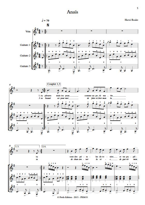 Anaïs - Trio de Guitares & Voix- BOULET H. - Partition