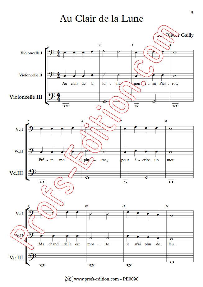 Au Claire de la Lune - Trio Violoncelles - TRADITIONNEL - Partition