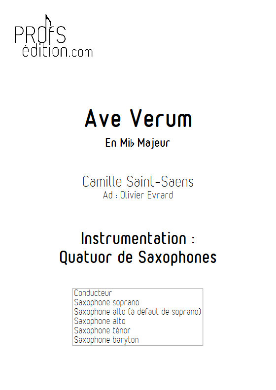 Ave Verum - Quatuor de Saxophones - SAINT-SAENS C. - page de garde