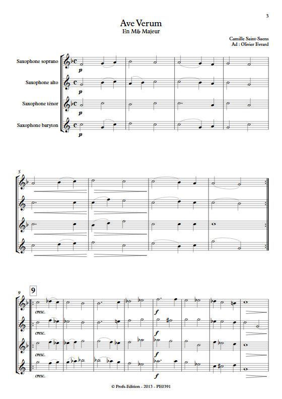 Ave Verum - Quatuor de Saxophones - SAINT-SAENS C. - Partition