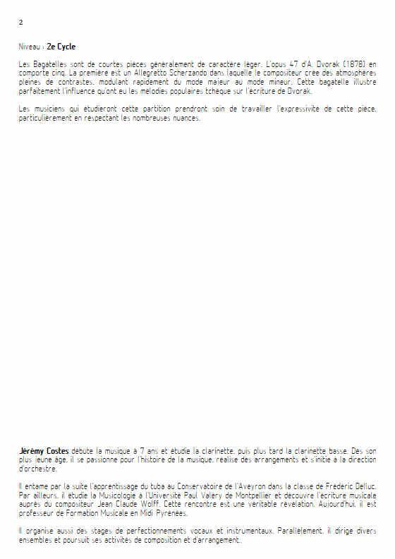 Bagatelle Op.47 - Quatuor Clarinettes - DVORAK A. - Fiche Pédagogique