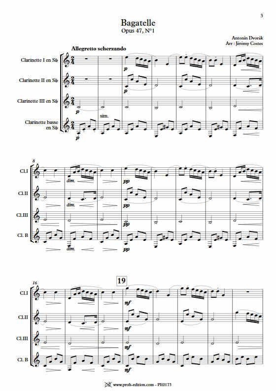 Bagatelle Op.47 - Quatuor Clarinettes - DVORAK A. - Partition