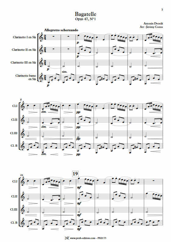 Bagatelle Op.47 - Quatuor Clarinettes - DVORAK A. - app.scorescoreTitle