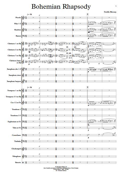 Bohemian Rhapsody - Orchestre d'Harmonie - QUEEN - Partition