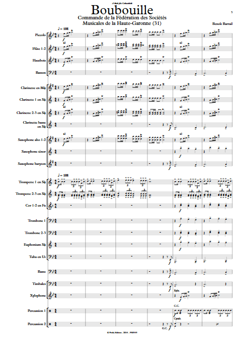 Boubouille - Orchestre d'Harmonie - BARRAIL B. - Partition