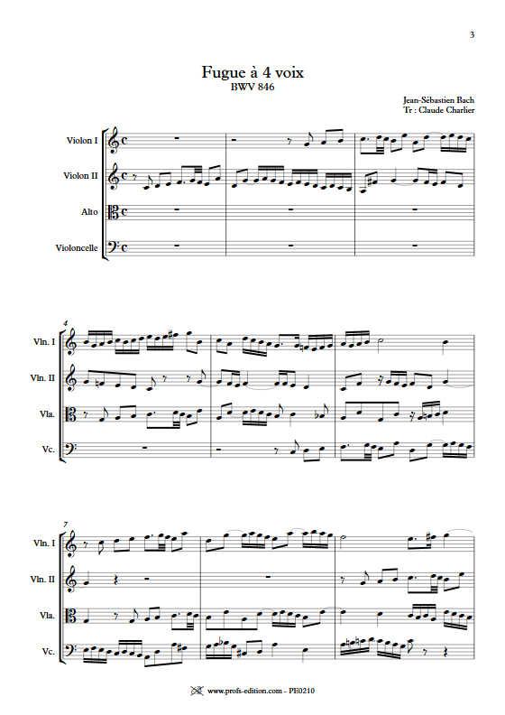 Clavier bien tempéré BWV 846 - Quatuor à Cordes - BACH J. S. - Partition