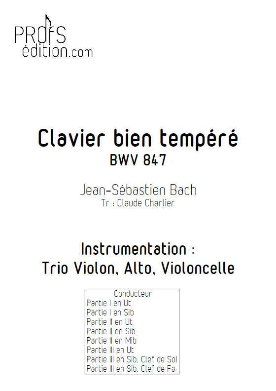 Clavier bien tempéré BWV 847 - Trio - BACH J. S. - page de garde