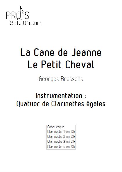 La Cane de Jeanne & Le petit Cheval - Quatuor de Clarinettes - BRASSENS G. - page de garde