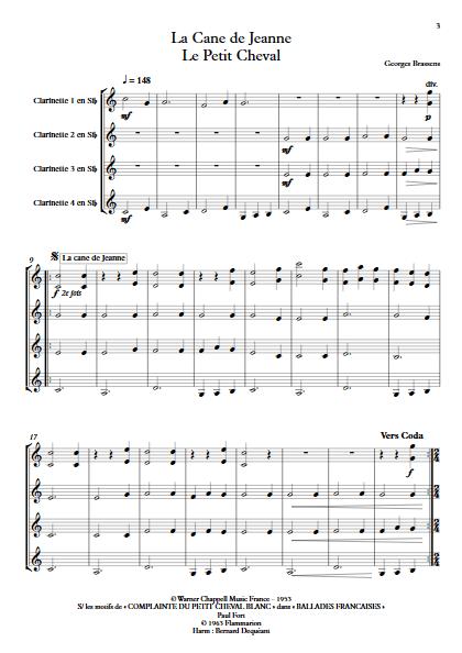 La Cane de Jeanne & Le petit Cheval - Quatuor de Clarinettes - BRASSENS G. - app.scorescoreTitle