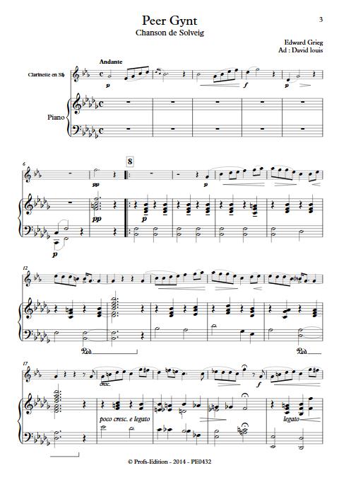 Chanson de Solveig (Peer Gynt) - Clarinette et Piano - GRIEG E. - app.scorescoreTitle