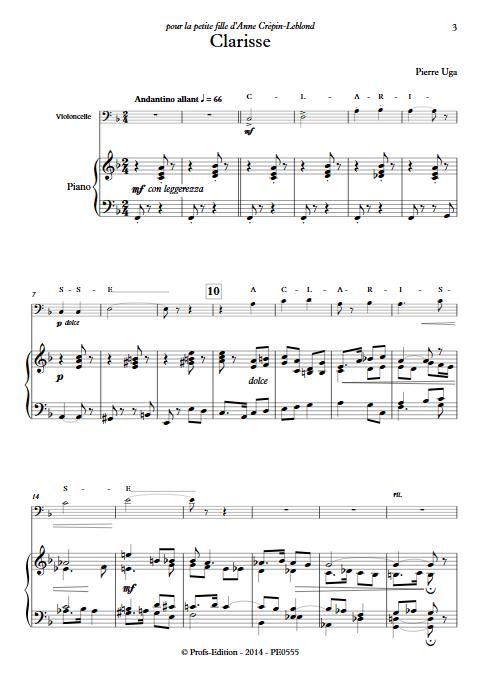 Clarisse - Violoncelle Piano - UGA P. - app.scorescoreTitle
