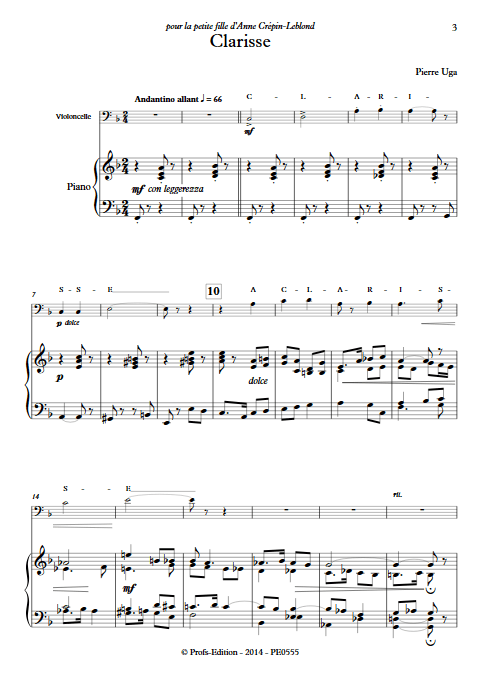 Clarisse - Violoncelle Piano - UGA P. - Partition