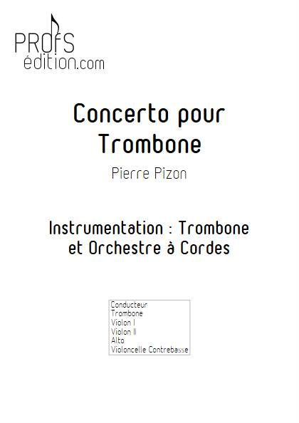 Concerto pour Trombone - Trombone & Cordes - PIZON P. - page de garde