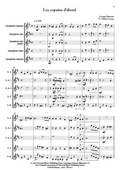 Les copains d'abord - Ensemble de Saxophones - BRASSENS G; - Partition